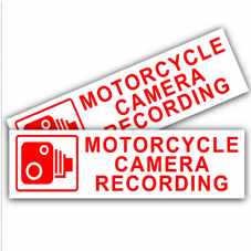 1 x Motorcycle Camera Recording-150mmx50mm-Red on White-Security Stickers-CCTV Signs-Motorbike